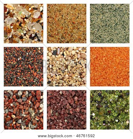 Collage Of Colorful Sand Samples