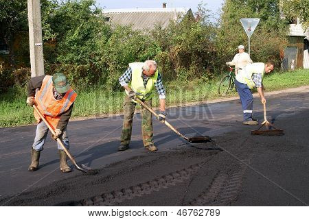 The repair of the road