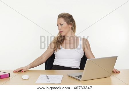 Tired Executive Young Woman Looking Away