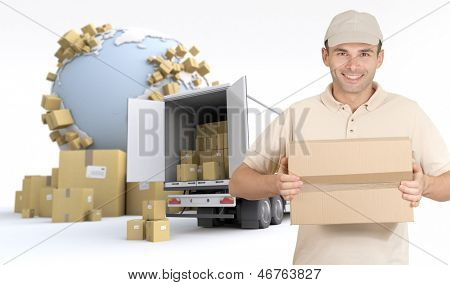 Messenger delivering a parcel in an international transport context