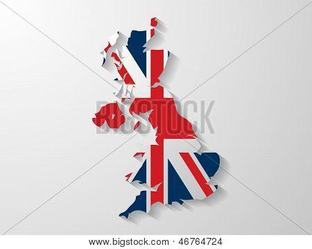 efecto de sombra de mapa de Reino Unido