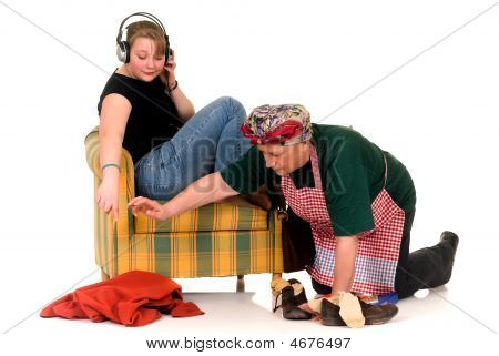 Housewife With Lazy Daughter