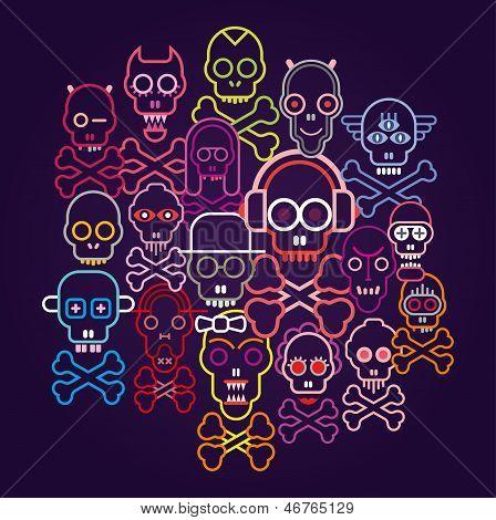 Skulls And Crossbones - Vector Illustration