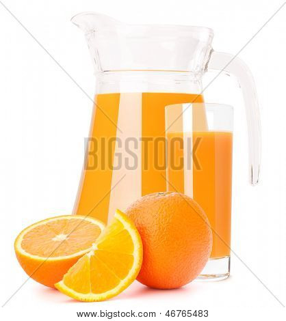 Orange fruit juice in glass jug isolated on white background cutout