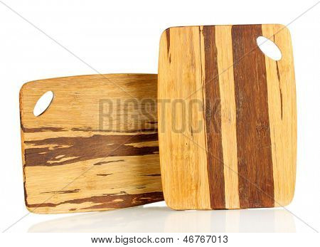 Wooden cutting boards isolated on white