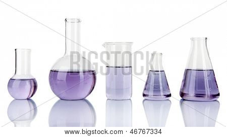 Test-tubes with light purple liquid isolated on white