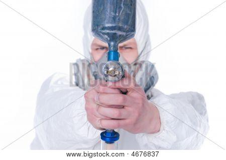 Man With Airbrush Gun, Selective Focus
