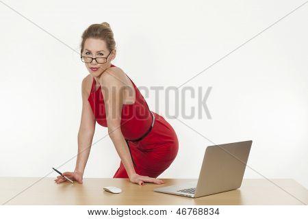 Sexy Secretary Wearing Glasses, Posing In Office