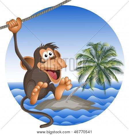 Tropical Beach With A Palm Tree And The Ridiculous Monkey