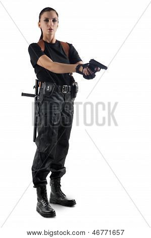 Police Officer With Gun Is Aiming