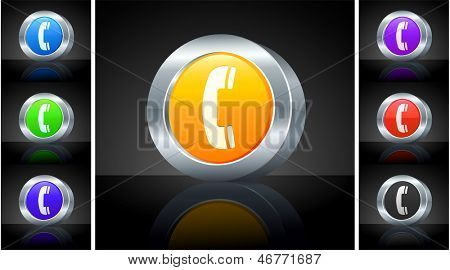 Phone Icon on 3D Button with Metallic Rim Original Illustration