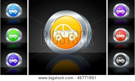 Vehicle Icon on 3D Button with Metallic Rim Original Illustration