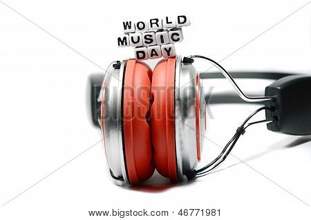 World Music Day With Red And Chrome Headphones
