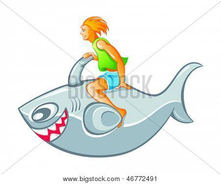 Happy boy on inflatable shark rocket isolated