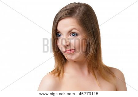 Portrait of a angry young woman, isolated on white background