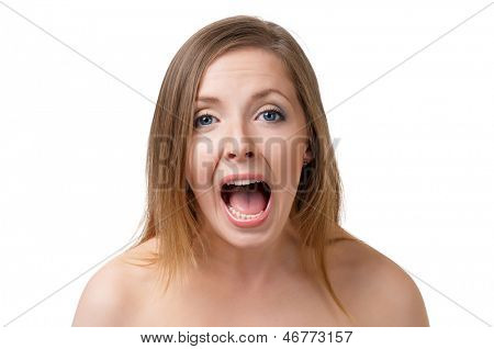Portrait of a screaming young woman, isolated on white background