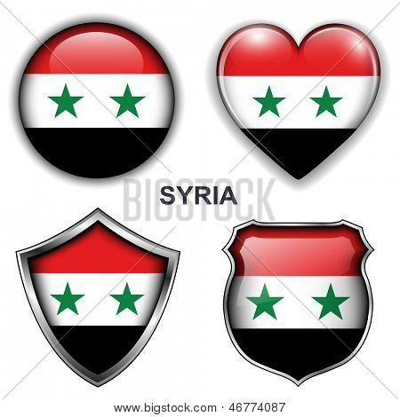 Syria flag icons, vector buttons.