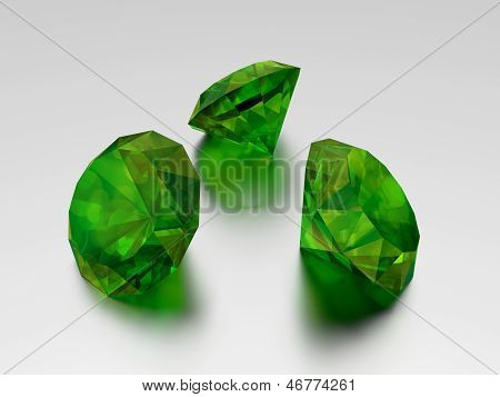 3D Emerald - 3 Green Gems