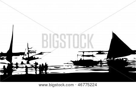 Isolated Vector Silhouette of Boats, Sea and Beach