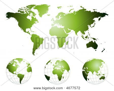 Hand Drawn World Map And Globes
