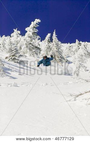 Expert Skier Skiing Powder, Stowe, Vermont, Usa