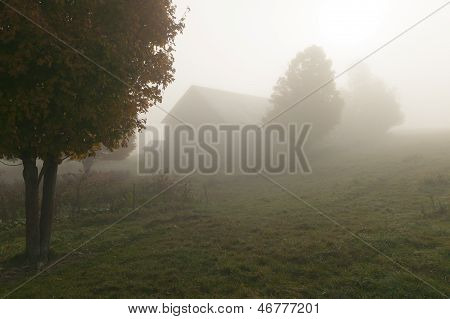 Old Weathered Barn On A Foggy Autumn Morning