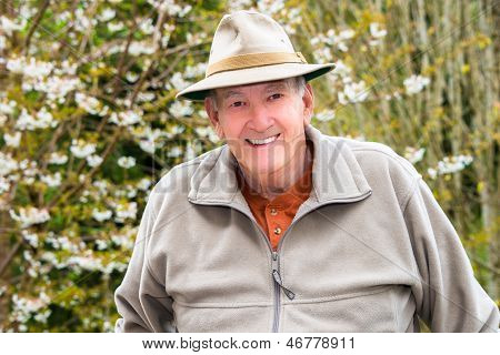 Portrait Smiling Elderly Man Outside