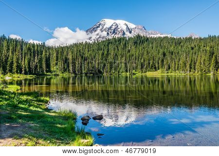 Snow Mountain Peak and Its Reflection in Lake