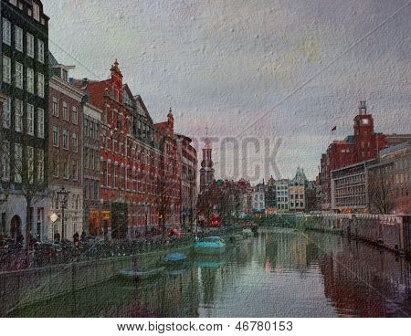 The Singel is one of the numerous canals in Amsterdam,  Netherlands . In the background Munttoren .photograph stylized as an old oil painting. texture of canvas