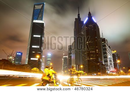 The Street Scene In Shanghai Lujiazui At Night,china