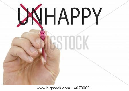 Changing Word Unhappy Into Happy