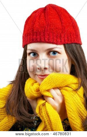 Woman With Red Hat And Yellow Scarf