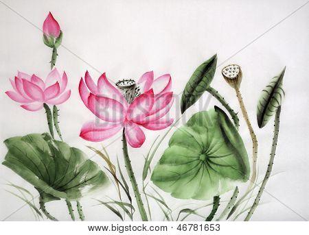 Watercolor Painting Of Pink Lotus