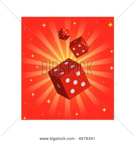 Illustration With Red Dices