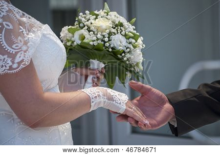 The Groom Takes The Bride's Hand