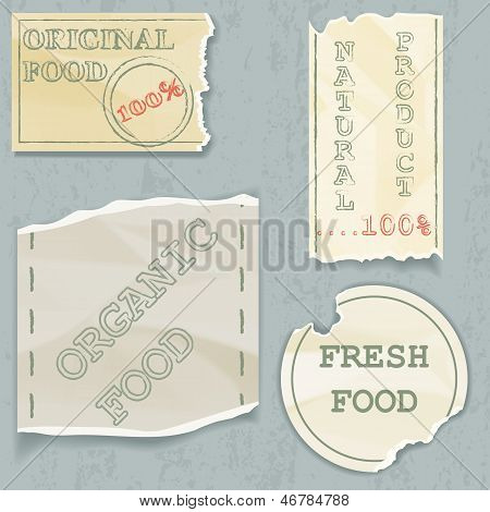 Labels Of Natural Food On Scraps Of The Old. Vector Illustration