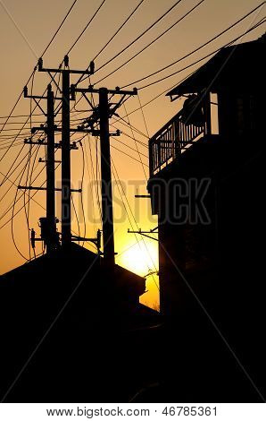 Residential Buildings And Telegraph Poles In Silhouette, Suzhou, China