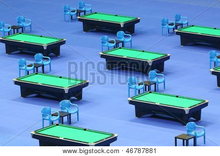 MOSCOW - OCTOBER 30: Billiard tables with green cloth at VII International Billiards Tournament Kremlin Cup 2012 in SC Olympiysky, on October 30, 2012 in Moscow, Russia.