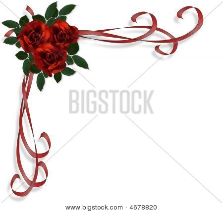 Red Roses Border Wedding Invitation Stock photo