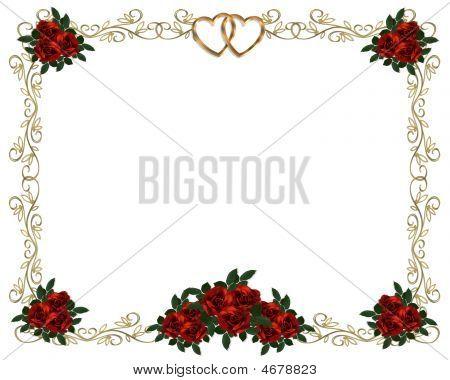 Invitación de marco de filigrana de oro de rosas rojas