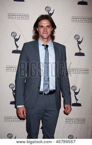LOS ANGELES - JUN 13:  Hartley Sawyer arrives at the Daytime Emmy Nominees Reception presented by ATAS at the Montage Beverly Hills on June 13, 2013 in Beverly Hills, CA