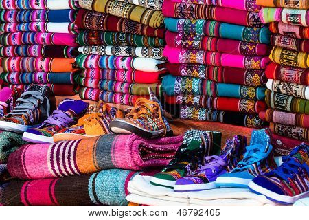 Colorful Fabric At Market In Peru