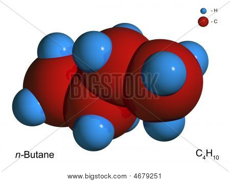 Isolated 3D Model Of A Molecule Of Butane