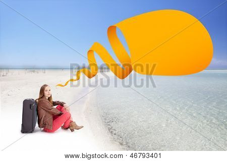 Woman with a suitcase on the sea beach with speech bubble