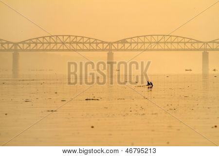 View at the polluted Ganges river in Varanasi, Uttar Pradesh, India