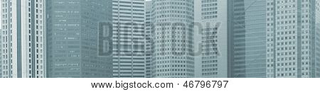 Panoramic Background - Windows Of High-rise City Buildings