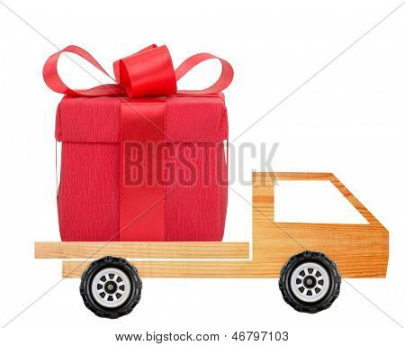 Car with a gift box