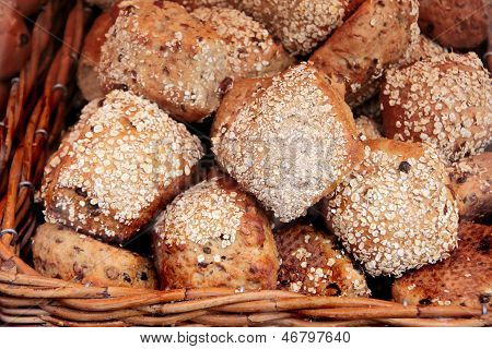 Wholemeal Bread In A Bast Basket