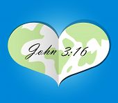 stock photo of bible verses  - A paper heart with earth theme and bible verse - JPG