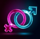stock photo of gay symbol  - male and female gender symbols on black background - JPG